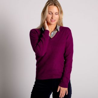 Cordings Aubergine Red Cashmere V Neck Jumper Different Angle 1