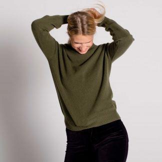 Cordings Green Merino & Cashmere Roll Neck Main Image