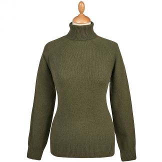 Cordings Green Merino & Cashmere Roll Neck Main Image