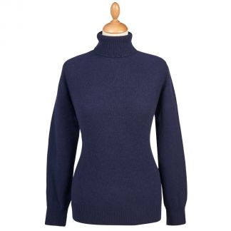 Cordings Navy Merino & Cashmere Roll Neck Main Image