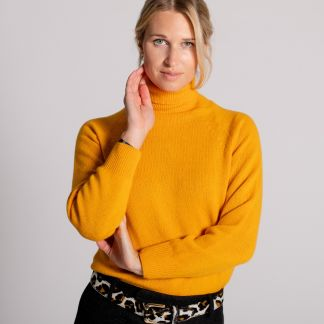 Cordings Yellow Merino & Cashmere Roll Neck Different Angle 1