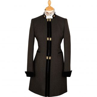 Cordings Black TBa Medallion Tweed Coat  Main Image