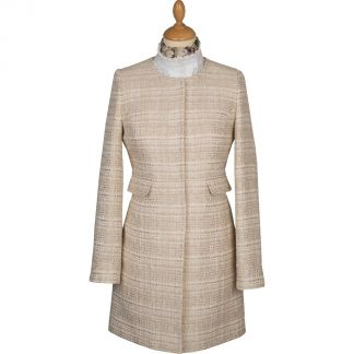 Cordings Cream Round Collar Coat Different Angle 1