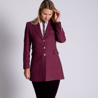 Cordings Pink Herringbone Carlisle Tweed Classic Coat Different Angle 1
