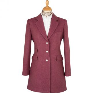 Cordings Pink Herringbone Carlisle Tweed Classic Coat Main Image