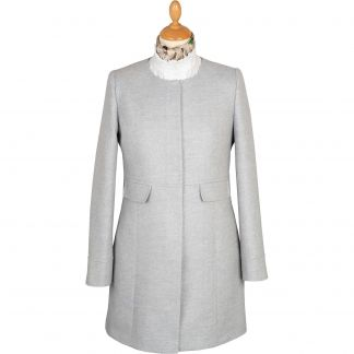 Cordings Pale Blue Round Collar Herringbone Coat Main Image