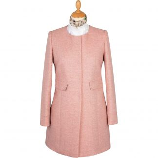 Cordings Pale Pink Round Collar Herringbone Coat Main Image