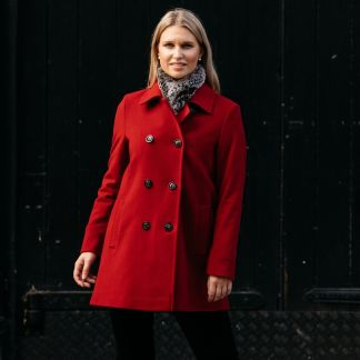 Cordings Red Double Breasted Wool Pea Coat Different Angle 1
