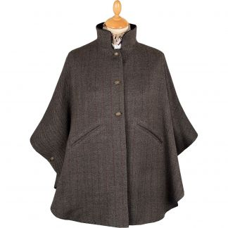 Cordings Charcoal Velvet and Tweed Reversible Cape Main Image
