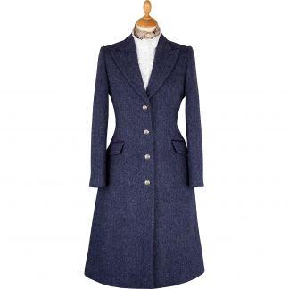 Cordings Blue and Plum Murton Harris Tweed Long Coat Main Image
