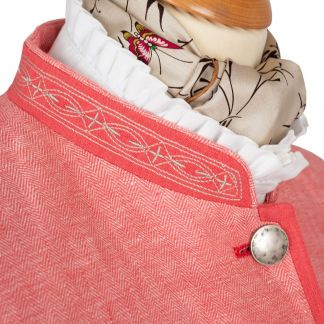 Cordings Coral Linen Austrian Nehru Coat Different Angle 1