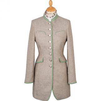 Cordings Khaki Linen Austrian Nehru Coat Main Image