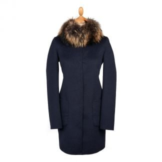 Cordings Navy Grey Reversible Cashmere & Wool Fur Collar Coat Main Image