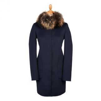 Cordings Navy Reversible Cashmere & Wool Fur Collar Coat Main Image