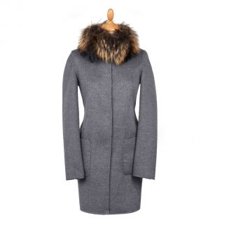 Cordings Navy Grey Reversible Cashmere & Wool Fur Collar Coat Different Angle 1