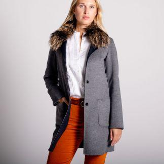 Cordings Navy Grey Reversible Cashmere & Wool Fur Collar Coat Main Image