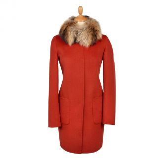 Cordings Orange Tan Reversible Cashmere & Wool Fur Collar Coat Main Image