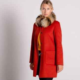 Cordings Orange Tan Reversible Cashmere & Wool Fur Collar Coat Main Image