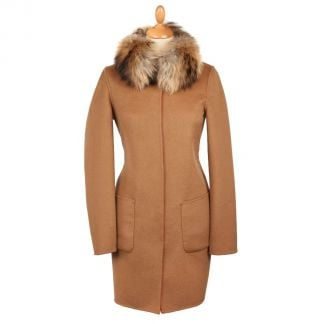 Cordings Orange Tan Reversible Cashmere & Wool Fur Collar Coat Different Angle 1