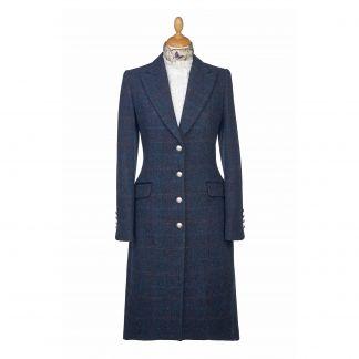 Cordings Navy Harris Tweed Long Coat  Main Image