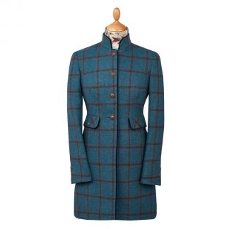 Cordings Blue Check Tweed Nehru Coat Main Image
