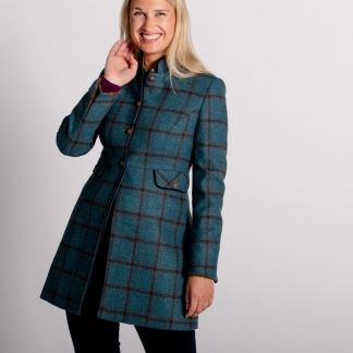 Cordings Blue Check Tweed Nehru Coat Different Angle 1