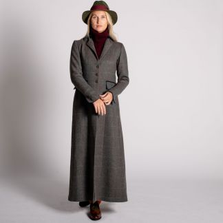 Cordings Long Tweed With Velvet Trim Coat Main Image