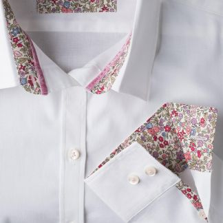 Cordings White Liberty Trimmed Cotton Shirt Different Angle 1