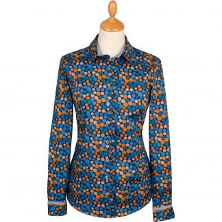 Cordings Blue and Mustard Spot Cotton Shirt  Main Image