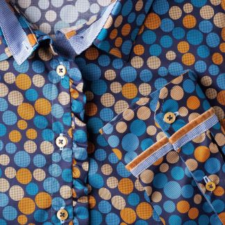 Cordings Blue and Mustard Spot Cotton Shirt  Different Angle 1