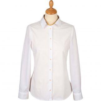 Cordings White Stretch Shirt with Orange Liberty Trim Main Image