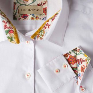 Cordings White Stretch Shirt with Orange Liberty Trim Different Angle 1