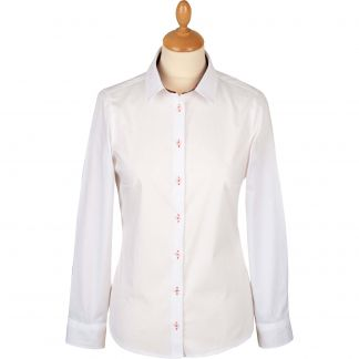 Cordings White Stretch Shirt with Pink Liberty Trim Main Image