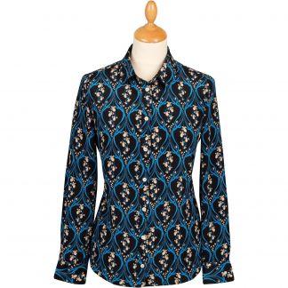 Cordings Navy Bluebell Silk Crepe Liberty Shirt Main Image