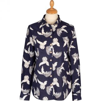 Cordings Navy Leaf Print Linen Shirt Main Image