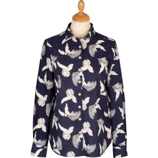 Cordings Navy Leaf Print Linen Shirt Main Image
