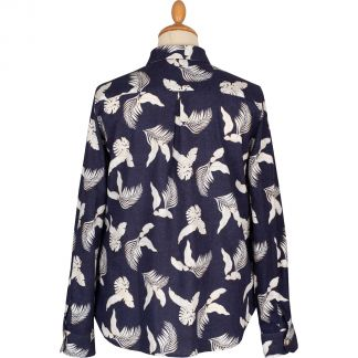 Cordings Navy Leaf Print Linen Shirt Different Angle 1