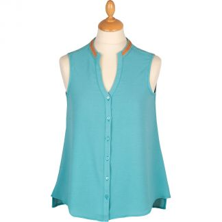 Cordings Embroidered V Neck Sleeveless Top Main Image