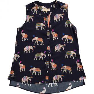 Cordings Navy Elephant Print Sleeveless Shirt Main Image