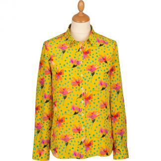 Cordings Yellow Sun Daisy Silk Liberty Shirt Main Image