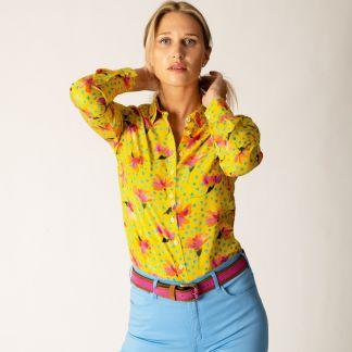 Cordings Yellow Sun Daisy Silk Liberty Shirt Different Angle 1