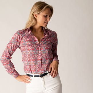 Cordings Strawberry Thief Liberty Cotton Shirt Different Angle 1