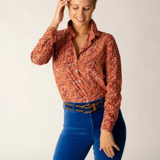 Cordings Red Peach Blossom Liberty Silk Crepe Shirt Different Angle 1