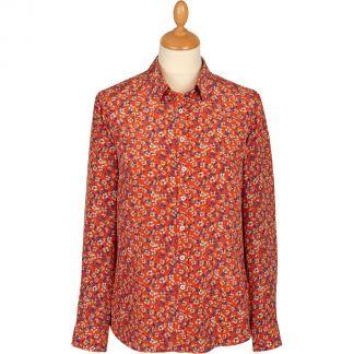 Cordings Red Peach Blossom Liberty Silk Crepe Shirt Main Image