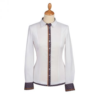 Cordings White Navy Trimmed Fitted Shirt Main Image