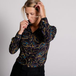Cordings Isadora Feather Liberty Crepe Silk Shirt Different Angle 1