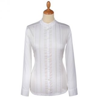 Cordings White Pin Tuck Pie Crust Cotton Shirt Main Image