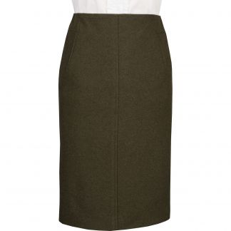 Cordings Olive Green Loden Pencil Skirt Main Image