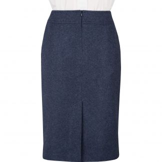 Cordings Navy Blue Loden Pencil Skirt Different Angle 1