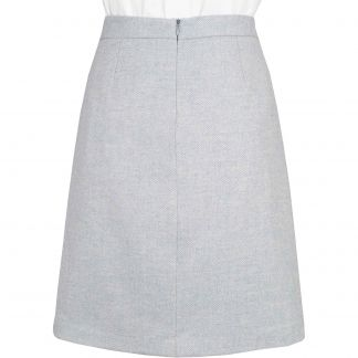 Cordings Pale Blue Herringbone Tweed Short Skirt Different Angle 1